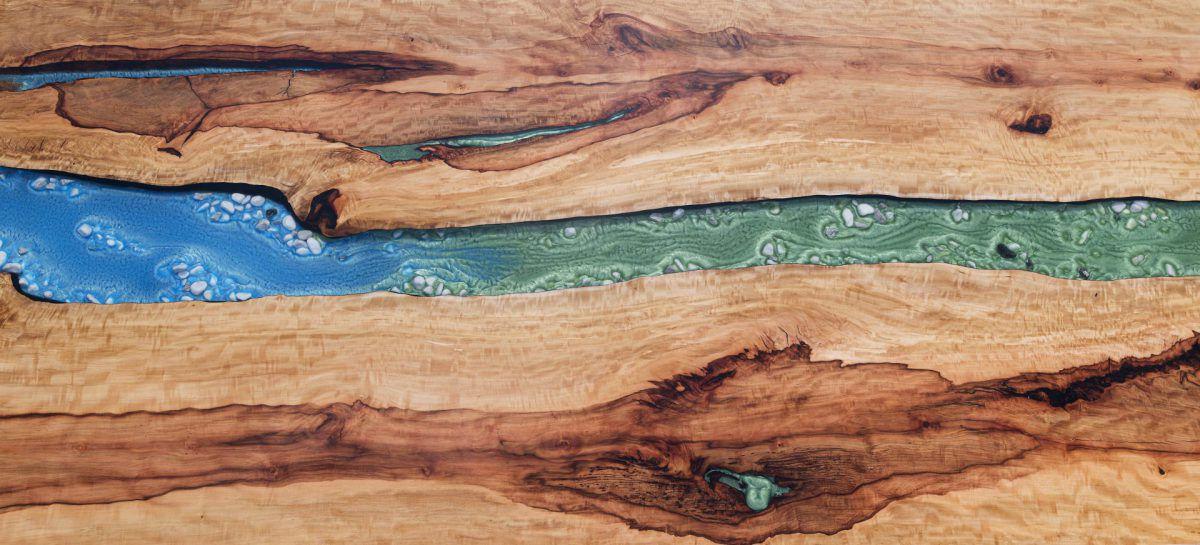 Tisch Fluss Birne Holz grün blau Fluss