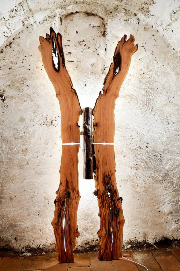 Assymetrischer geteilter Ast aus Zwetschke mit ursprünglicher Form und indirekter Beleuchtung