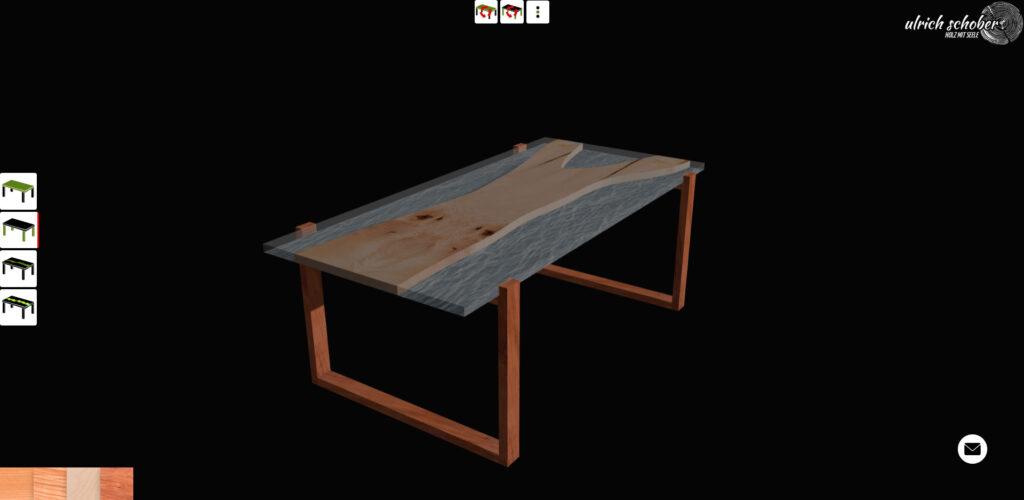 Konfigurator Epoxyharz Naturholz Tische